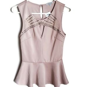 CHARLOTTE RUSSE |Soft tan peplum with metal deco